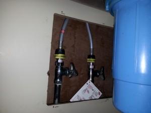 止水栓を切り下げました。 また、止水栓の中のパッキン交換を行いました。