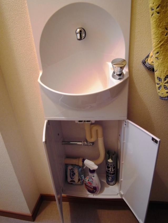 手洗い器は押しボタン式で動作させやすく、下に収納もあります。